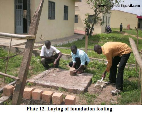 Plate 12. Laying of foundation footing