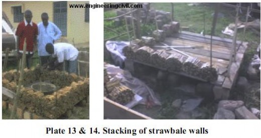 Plate 13-14. Stacking of strawbale walls