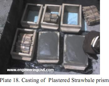 Plate 18. Casting of  Plastered Strawbale prism
