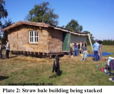 Plate 2-Straw bale building being stacked