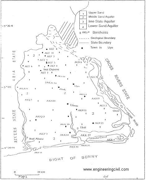 Fig3- Map of Akwa Ibom State showing the ariel distribution of hydrostratigraphic units