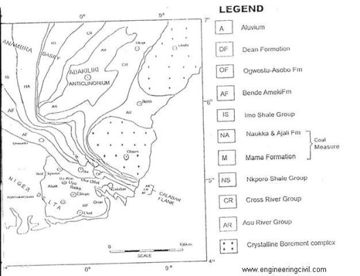 Fig4-Geological map of South Eastern Nigeria including the study area