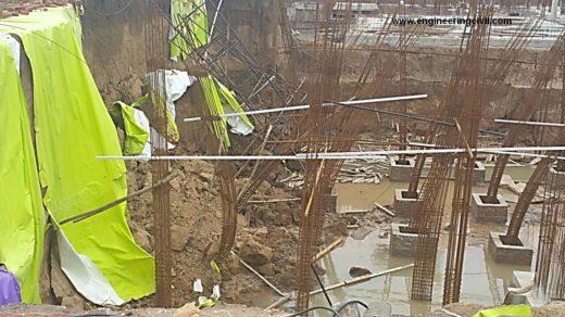 Column bars bent due to sudden thunder storm and landslide
