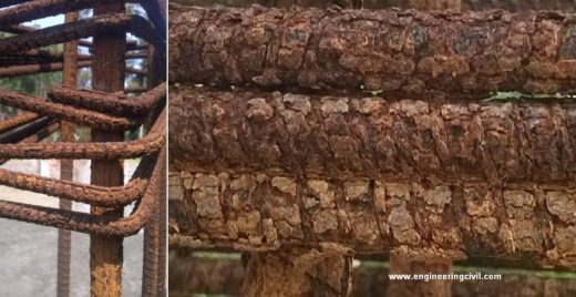 Excessive rust in dowel rebars in column