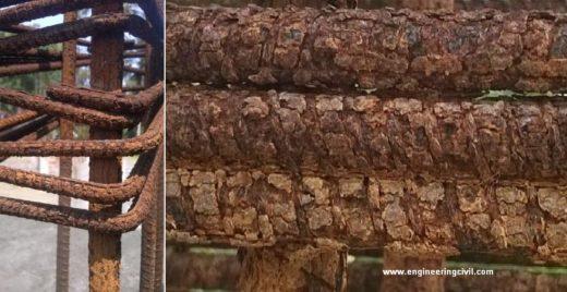 Excessive rust in dowel rebars in column