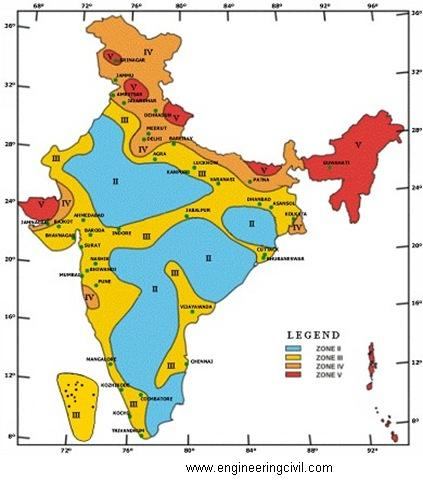 Figure1  Seismic zoning of India as per BIS1893-2002