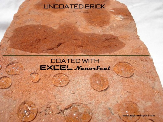 hydrophobic coating on bricks