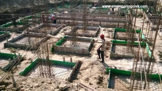 C-shaped and L-shaped rebars used in isolated footing