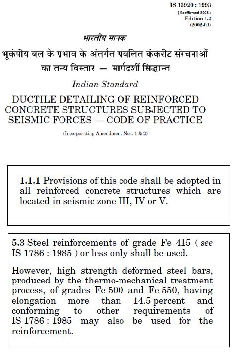 Fig 6 (s) BIS13920 (reaffirmed 2003) and relevant clauses