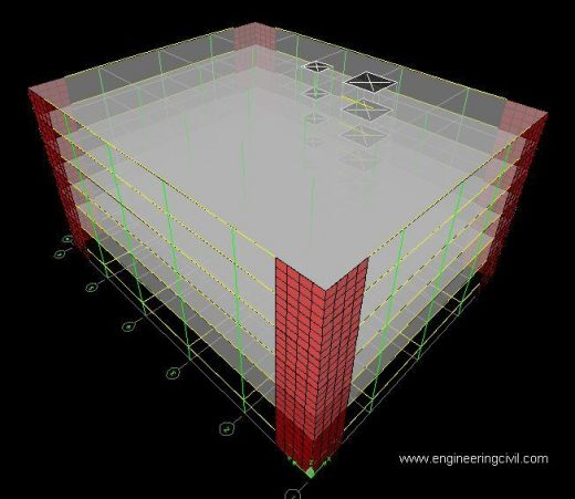 FIG4 Model 3(Flat slab structure with shear wall)