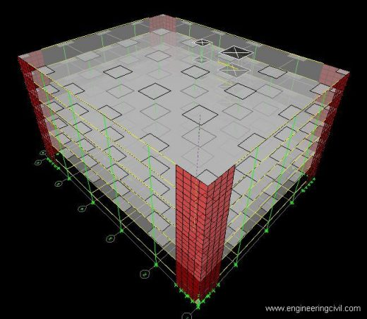 FIG5 Model 4(Flat slab structure with drop and shear wall together)