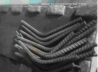 Bend pieces of rebar after rebend test