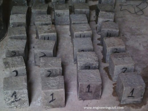 Plate IV concrete cubes subjected to surface dried condition before weighing