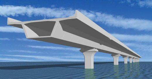 Animation of segmental construction of the bridge