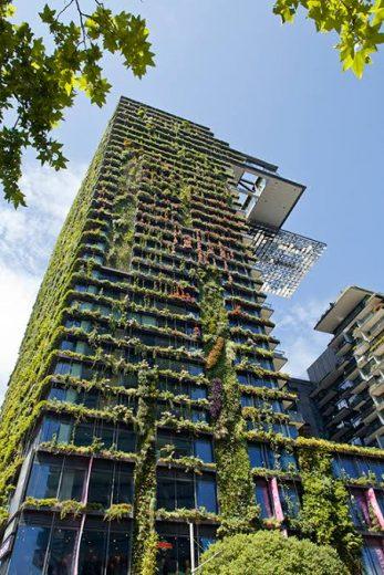 A vertical green building