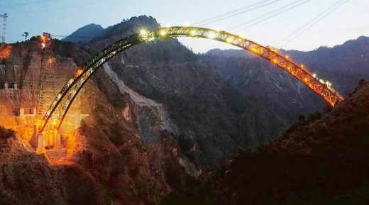 Chenab Bridge under construction at night