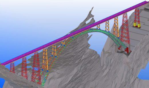 Chenab Bridge as viewed in Tekla software