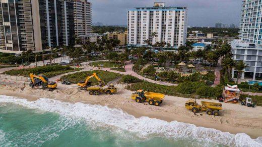Construction activities near the Miami Beach